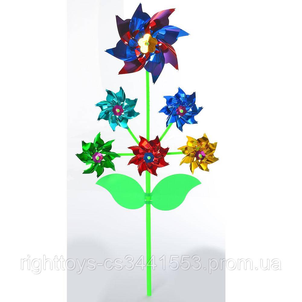 Вітрячок M 6238 (200шт) квітка, на палочке30см, фольга, мікс кольорів, в кульку, 26-25-2,5 см