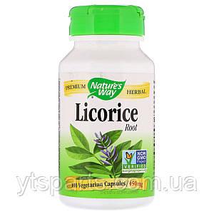 Корень Лакрицы (Солодки), 450 мг, Licorice Root, Nature's Way, 100 гелевых капсул