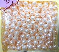 Бусины бежевые флористические в упаковке 8 мм