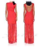 Платье гипюровое макси с открытой спиной, фото 1