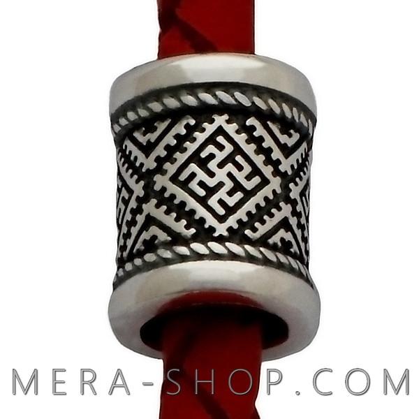 Серебряная бусина Одолень Трава Перунов Цвет оберег из серебра 925 пробы (10 х 8 мм, 2.15 г)