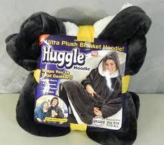 Плед Huggle Hoodie двухсторонняя толстовка халат с капюшоном и рукавами Черный