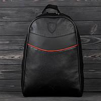 Рюкзак кожаный Puma Ferrari в уличном стиле на каждый день городской портфель Пума унисекс цвет черный