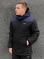 Куртка мужская зимняя с капюшоном на флисе, теплая, стильная, черная