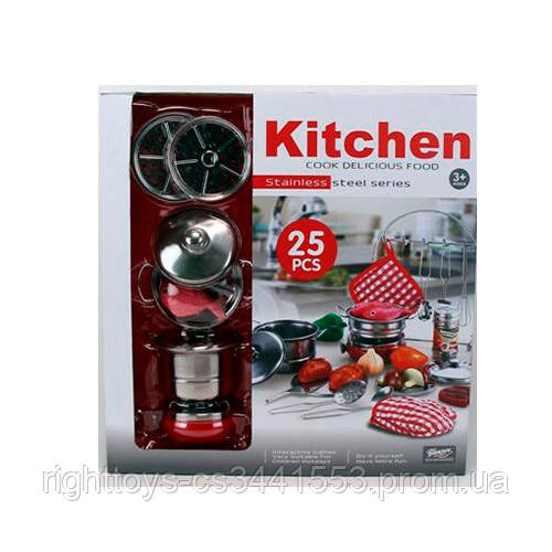Посуда 555-BX009 (24шт) кастрюли,сковородка,кухонный набор,металл,23пр,в кор-ке,41-39,5-11см