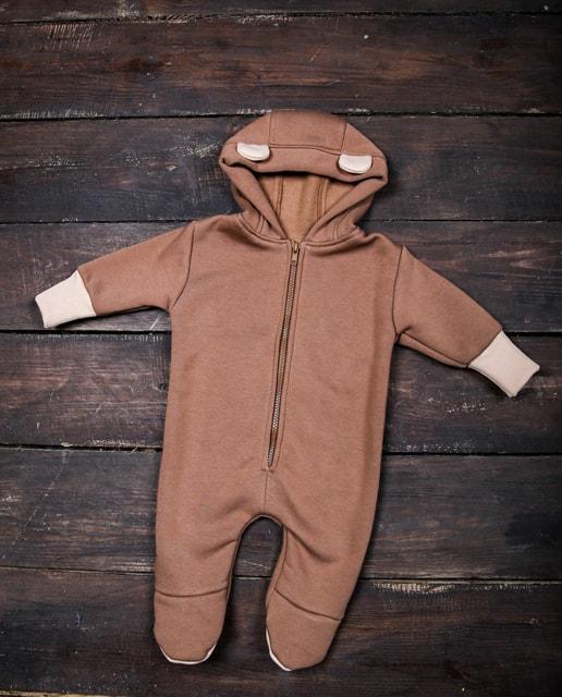 Дитячий теплий трикотажний комбінезон чоловічок коричневий (547)