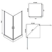 Душова кабіна квадратна без піддона  90х90 Q-TAP GEMINI, фото 3