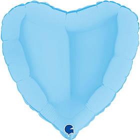 """Кулька 18"""" серце фольгована макарун блакитний однотонний УП шт."""
