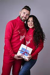 Парные свитера Олень красные