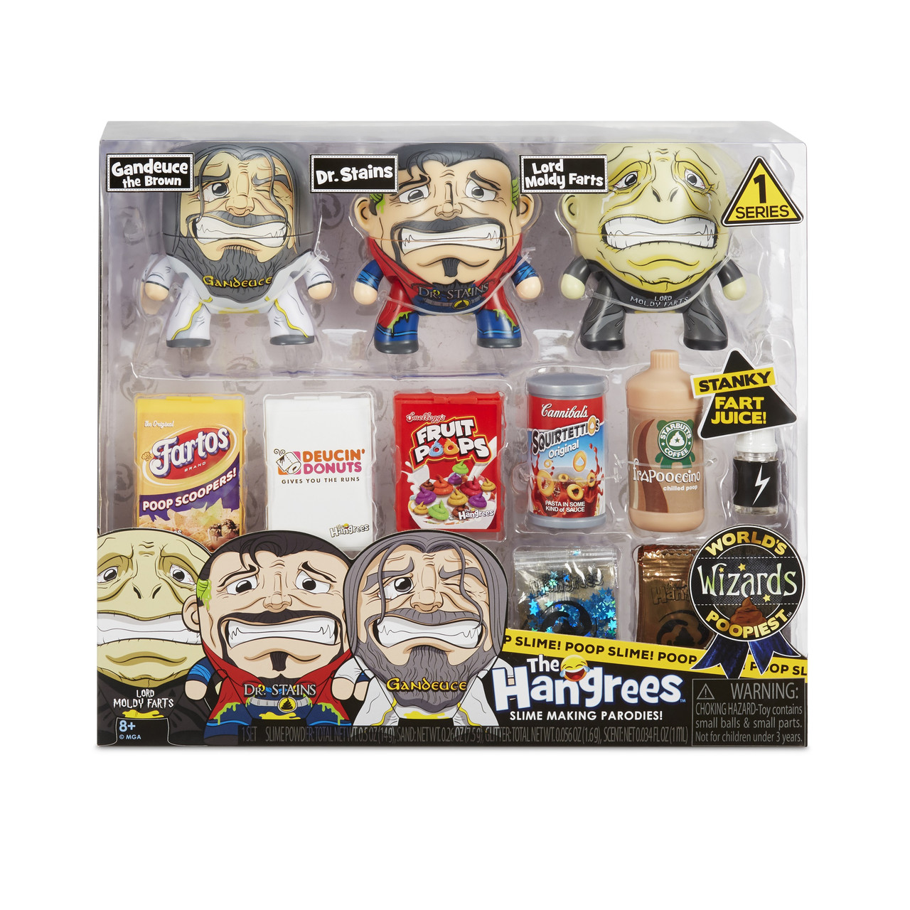 The Hangrees игровой набор со слаймом 563082 World's Poopiest Wizards Collectible Parody Figures 3-Pack