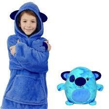 Детский плед толстовка халат с капюшоном и рукавами трансформер подушка зверушка Huggle Pets Hoodie синий