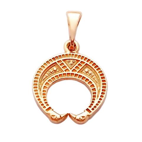 Лунница золотой оберег славянский двухсторонний кулон из золота 585 пробы (23 х 15 мм, 2.2 г)
