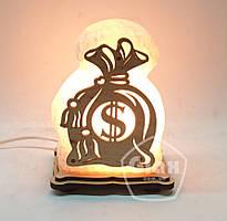 """Соляная лампа светильник """"Мешочек доллар"""""""