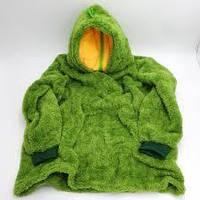 Детский плед толстовка халат с капюшоном и рукавами трансформер подушка зверушка Huggle Pets Hoodie зеленый