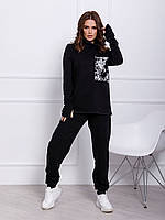Черный ангоровый женский костюм с пайетками на кармане, фото 1