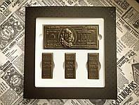 Шоколадный набор богатства, подарок руководителю, мужу, другу - золотые слитки, доллары