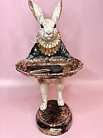 ДекоСтатуэтка Белый кролик с подносом для ключей, 28см, цвет - синий