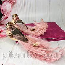 Декоративная птица на клипсе 19см, цвет - тёмно-розовый 2 шт.