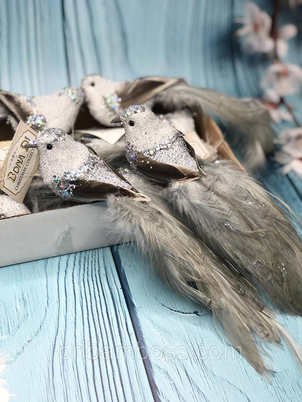 Декоративная птица на клипсе 21см, цвет - серебристо-серый 6 шт