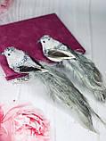 Декоративная птица на клипсе 21см, цвет - серебристо-серый 6 шт, фото 2