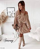 Стильное женское велюровое платье с поясом на одно плече