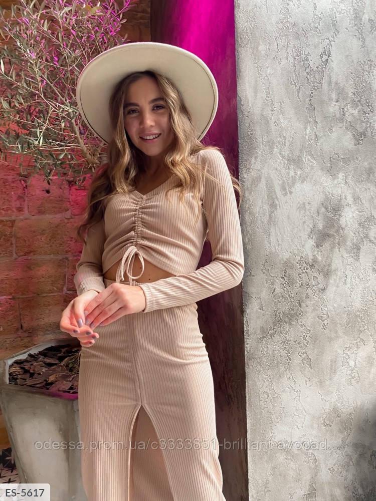 Модный женский костюм юбка + кроп топ на затяжках