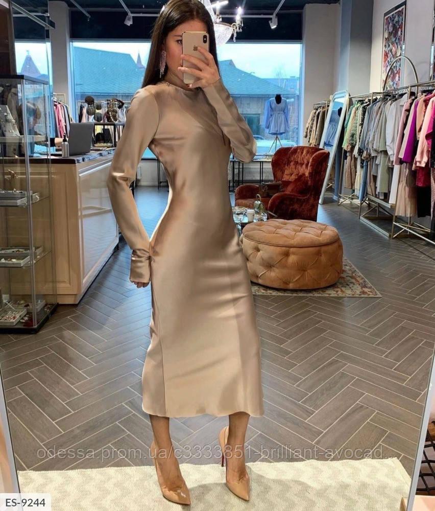 Женское вечернее шелковое платье миди