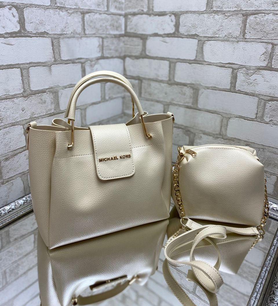 Большая женская сумка на плечо бежевая с косметичкой брендовая набор комплект городская кожзам