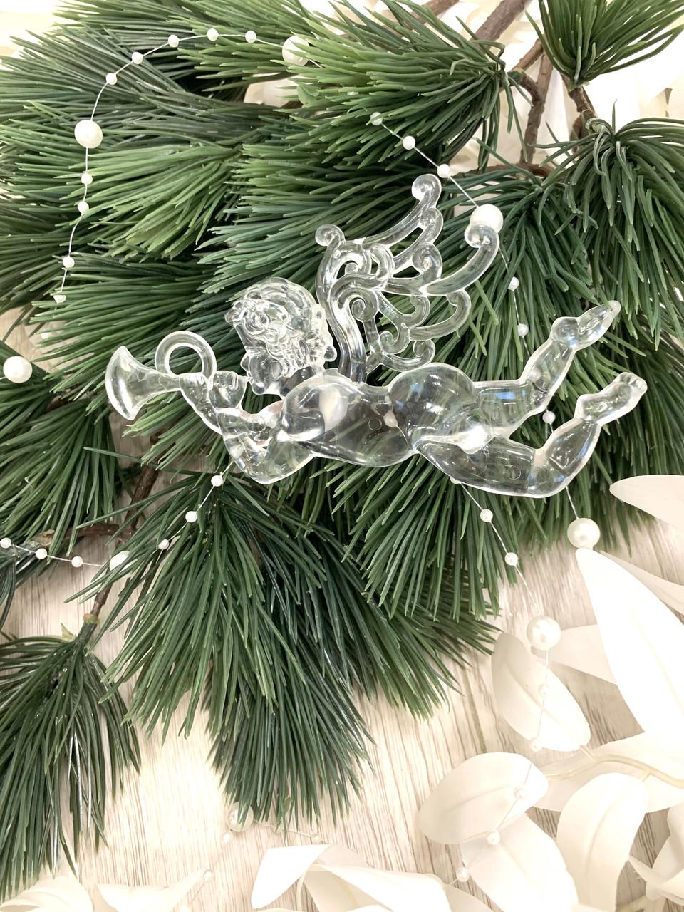 Новогоднее  украшение - ангел лёд ( 12 см )