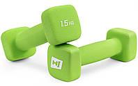 Набор гантелей неопреновых квадратных Hop-Sport HS-V015DS 2х1,5 кг