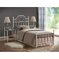 Белая металлическая односпальная кровать Signal Lima 90x200см для девочки с жестким каркасом