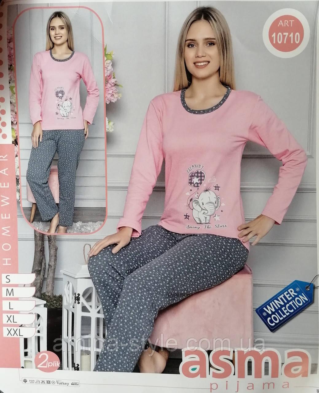 Утепленная женская  пижама, начес. Одежда для дома и сна. Размер S(42-44). Турция