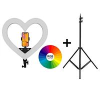 Кольцевая цветная LED RGB лампа сердце  + 2 м штатив