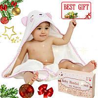 Премиальное Детское Полотенце с Капюшоном - Полотенце Уголок 90*90 см- Детское Банное Полотенце (0- 5 Лет)