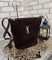 Замшевая шоколадная сумка мешок женская на плечо вместительная сумочка натуральная замша+кожзам, фото 1