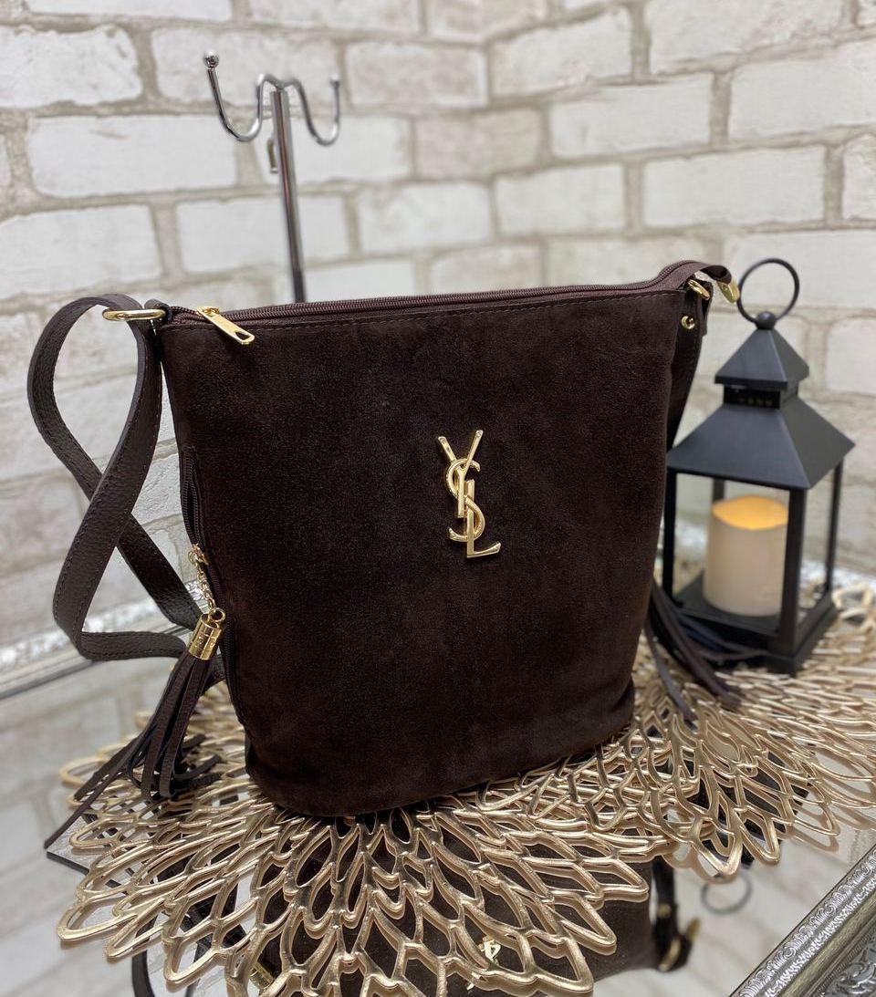Замшевая шоколадная сумка мешок женская на плечо вместительная сумочка натуральная замша+кожзам