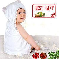Детское Банное Полотенце -Полотенце с Капюшоном - Полотенце Уголок для Мальчиков и Девочек (0-5 Лет) Бежевый