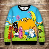 Світшот с принтом  Adventure time / Час пригод Щастя Дорослі і дитячі розміри, фото 1