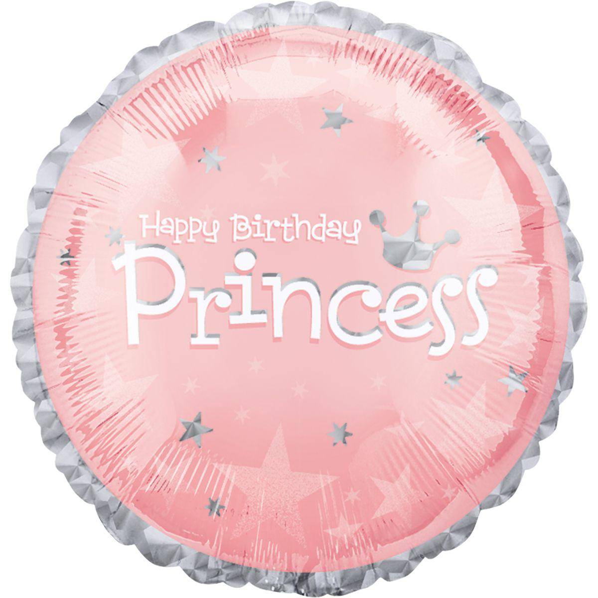 """Кулька 18"""" круг фольгована """"С днем рождения принцесса, голографія"""" малюнок УП шт."""
