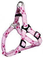 15308 Trixie Шлея Modern Art One Touch Geschirr Rose Heart, розовая, 25-35см/10мм