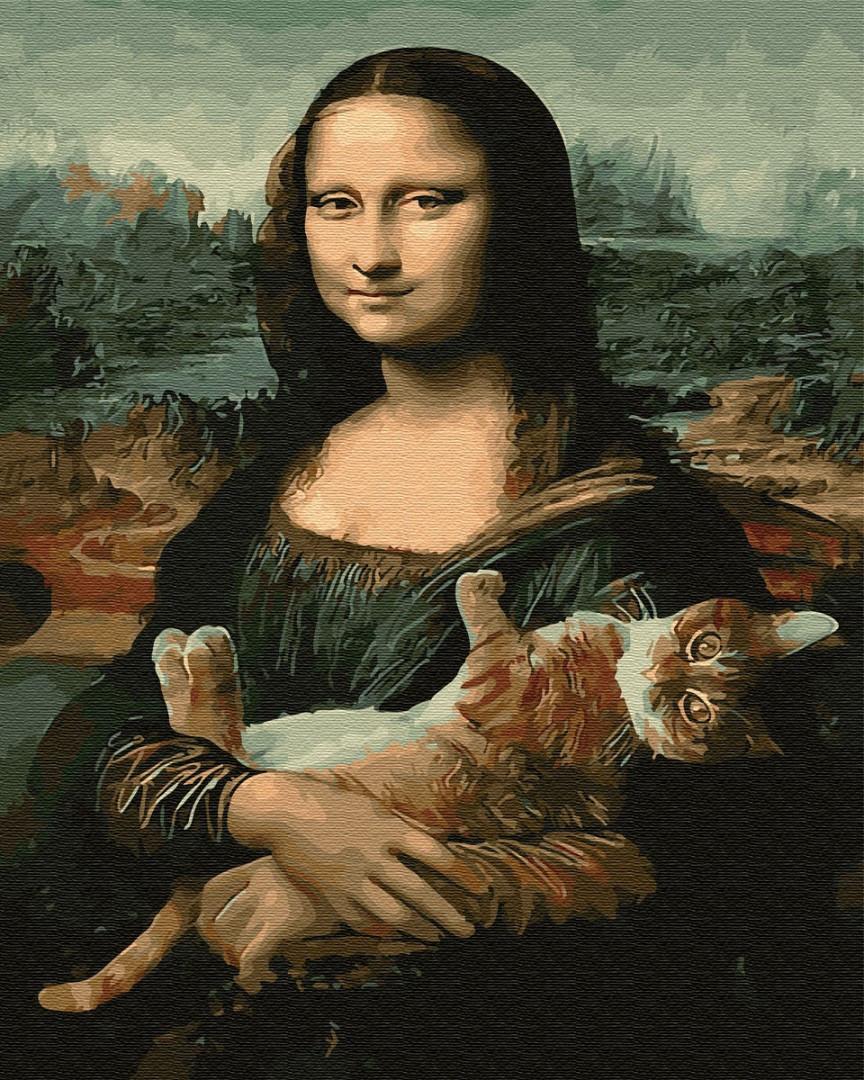 Картина по номерам - Мона Лиза с котом Brushme 40*50 см. (GX29098)