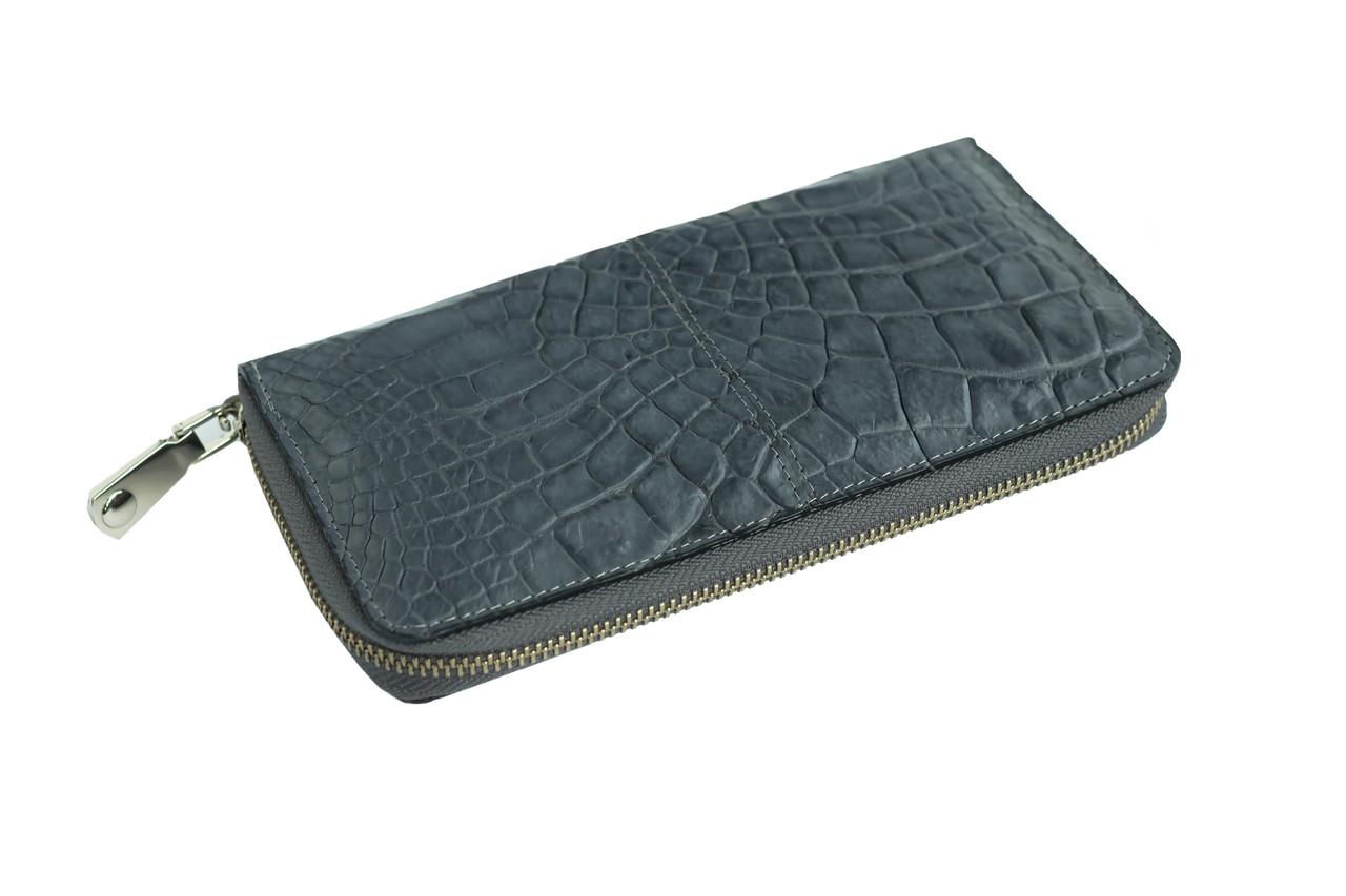 Кошелек Ekzotic Leather из натуральной кожи крокодила Серый (cw 82_2)