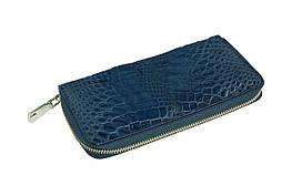 Кошелек Ekzotic Leather из натуральной кожи крокодила Синий (cw 82_3)
