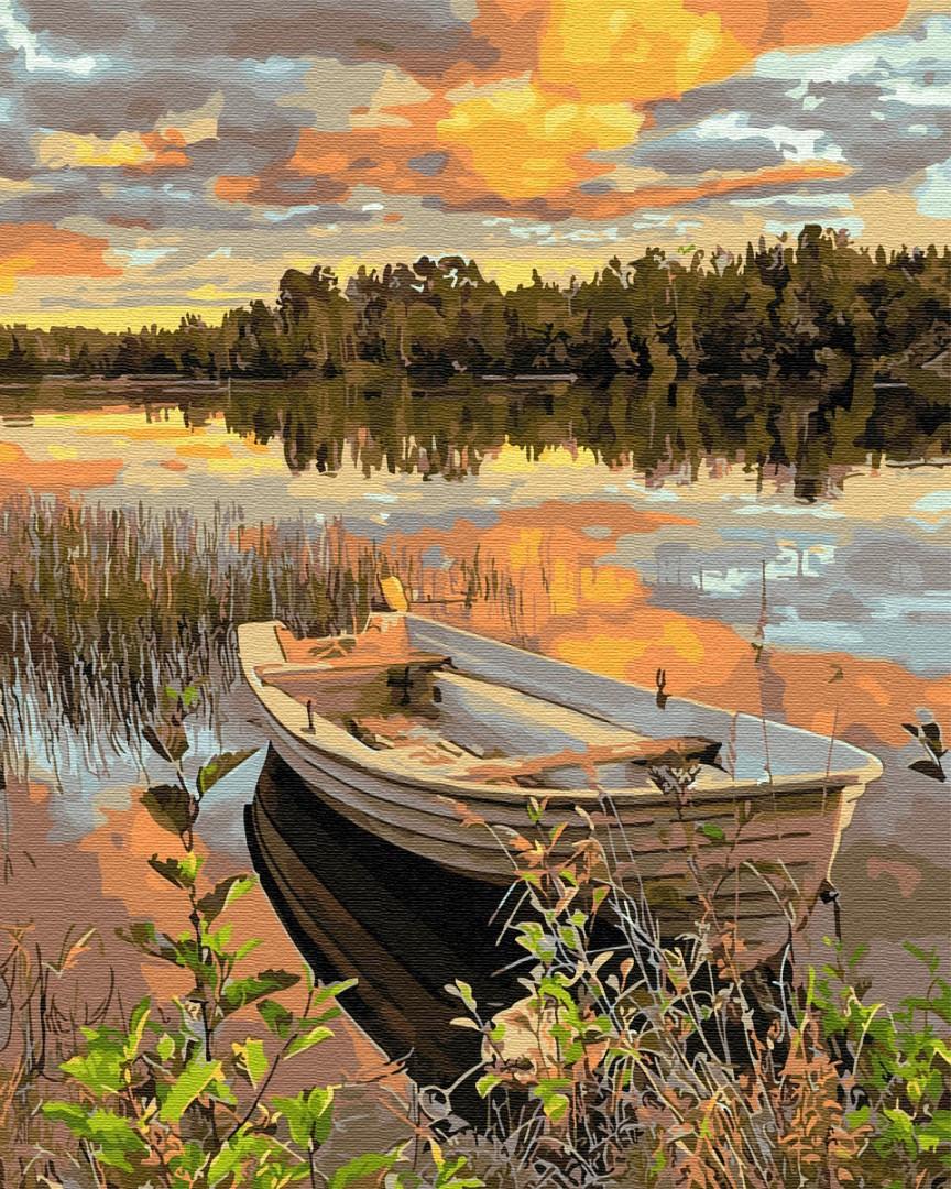 Картина по номерам - Лодка на закате Brushme 40*50 см. (GX36081)