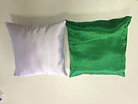 Подушка атлас квадрат 35х35 цветная с одной стороны ЗЕЛЕНАЯ