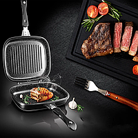 Двухсторонняя сковорода-гриль для гриля и жарки 30 см A-PLUS 1500 с магнитным замком + ПОДАРОК крышка-сетка