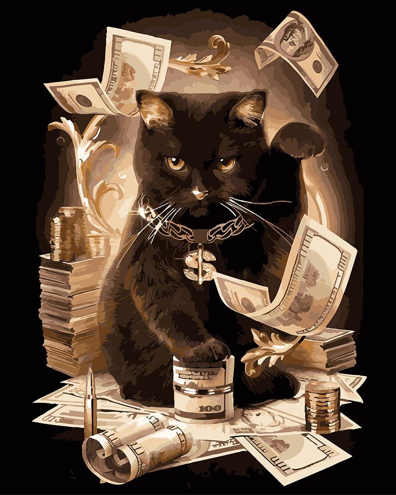 Картина по номерам - Денежный кот Brushme 40*50 см. (GX34816)