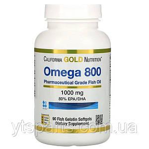 Омега 800, Рыбий жир фармацевтического качества, 1000 мг, California Gold Nutrition, 90 желатиновых капсул