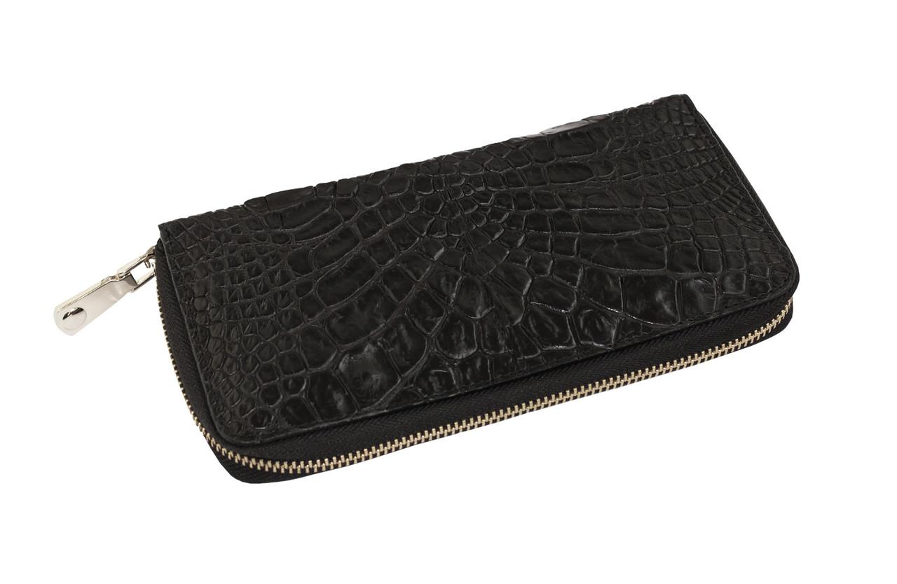 Кошелек Ekzotic Leather из натуральной кожи крокодила Черный  (cw 82_6)