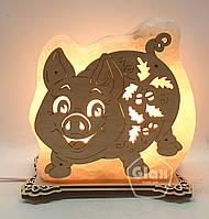 """Соляная лампа светильник """"Хрюшка в листьях"""""""